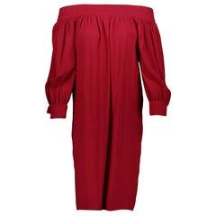 f70d2a6408b Vintage Gucci Burgundy Silk Pleated Dress W  Pheasant   French Horn Print.  Gucci Bardot Red Viscose Dress - size IT38. Gucci Bardot Red Viscose Dress  - size ...