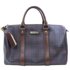 Plaid Boston Duffle 866617 Brown Coated Canvas Weekend/Travel Bag