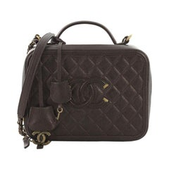 Chanel Filigree Vanity Case Quilted Caviar Medium