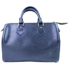 Louis Vuitton Speedy Black Epi 25 866634 Blue Leather Satchel