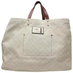 Gucci Extra Large Signature Travel 866649 White Coated Canvas Tote