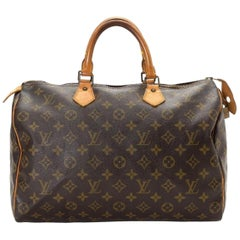 Louis Vuitton Speedy Monogram 35 866653 Brown Coated Canvas Satchel
