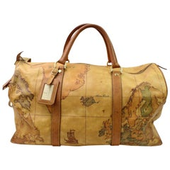Alviero Martini Atlas Map  Duffle with Strap 866485 Brown Canvas Travel Bag