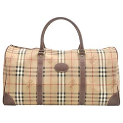 Burberry Nova Check Boston Duffle 866558 Beige Canvas Satchel