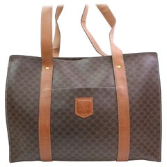 Céline Macadam Monogram Shopper Tote 866564 Brown Coated Canvas Shoulder Bag
