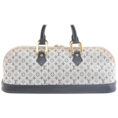 Louis Vuitton Alma Monogram Mini Lin Horizontal 866363 Blue Canvas Satchel