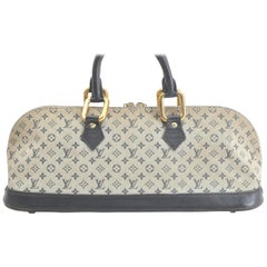 Louis Vuitton Alma Monogram Mini Lin Horizontal 866376 Blue Coated Canvas Satche