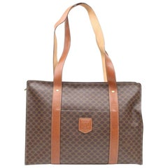 Céline Macadam Monogram Shopper 866379 Brown Coated Canvas Tote