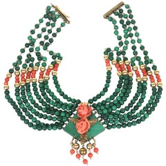 14K Gold Eight Strand Malachite Diamond, Coral Collar Necklace- Stunning