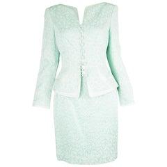 Escada Couture Vintage Mint Star Pattern Brocade & Silk Satin Skirt Suit, 1990s