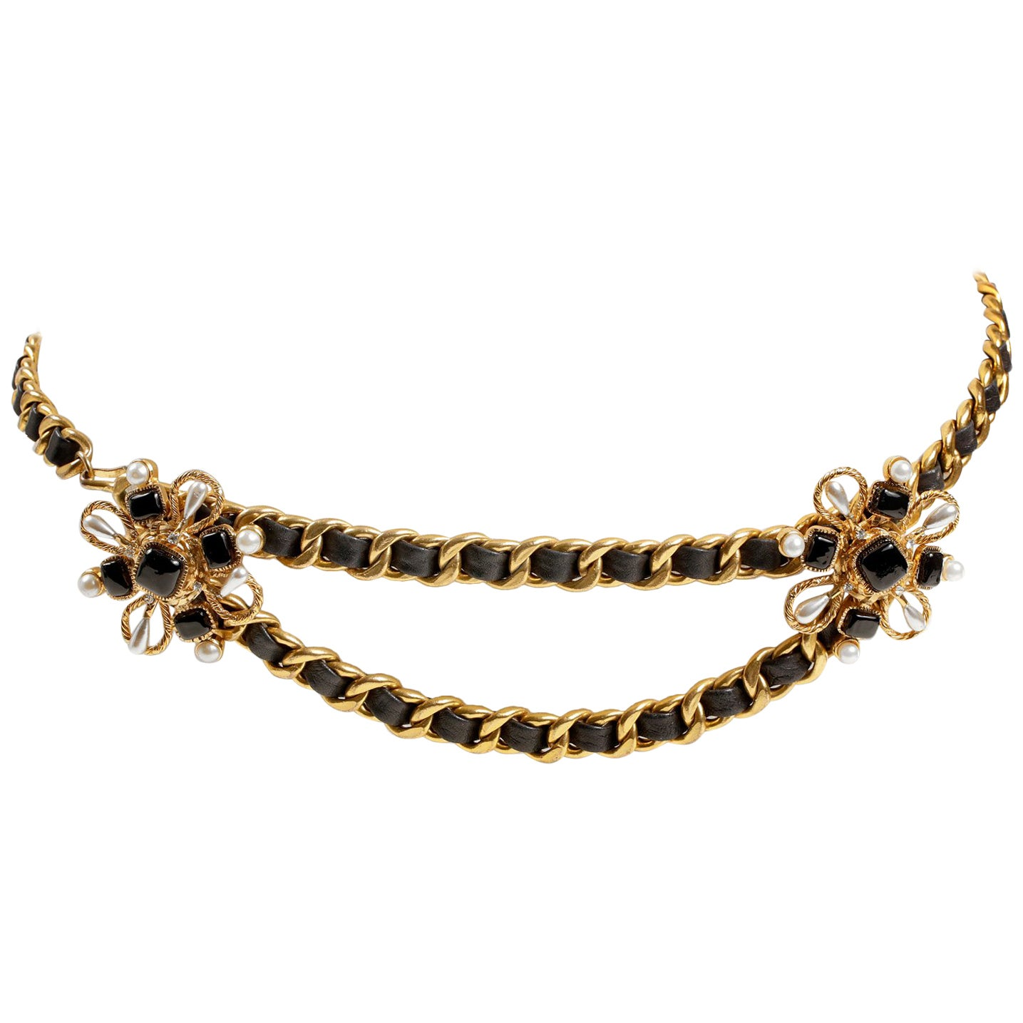 Chanel Black Enamel and Pearl Camellia Double Chain Belt