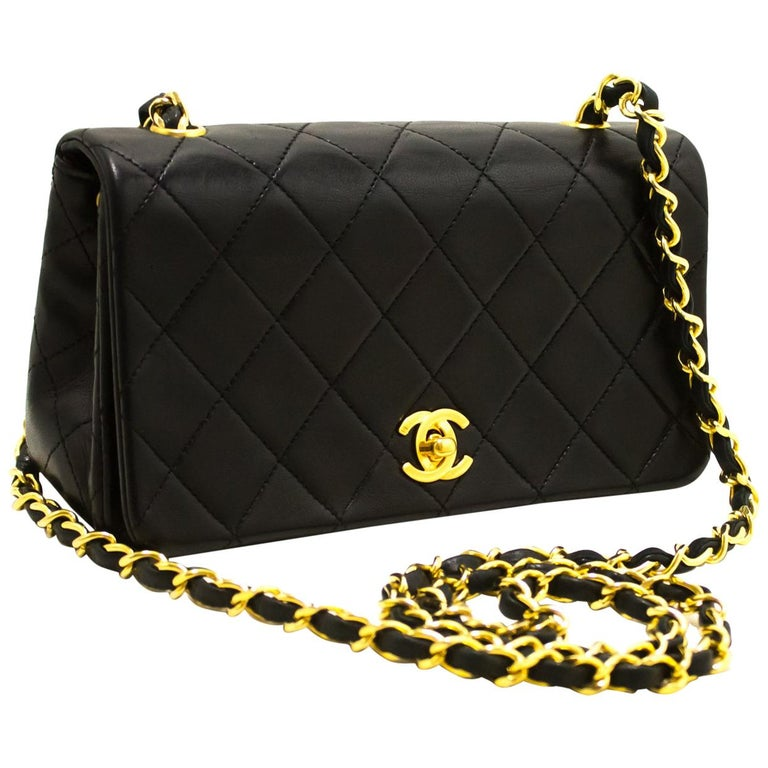 8bbbabc39a33 Chanel Small Chain Shoulder Crossbody Bag Black Flap Quilted Lamb At
