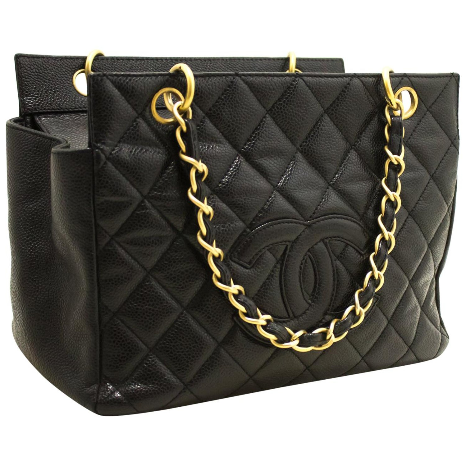 f3281a680ca914 Chanel Caviar Chain Handping Tote Bag Black Quilted Purse