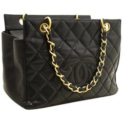 CHANEL Caviar Chain HandShopping Tote Bag Bag Black Quilted Purse
