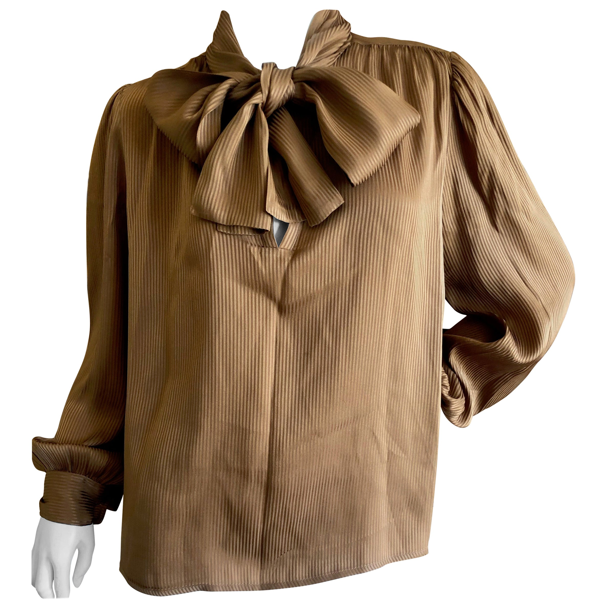 a3d90dcac240fe Yves Saint Laurent 70's Rive Gauche Pin Tuck Silk Keyhole Blouse w Pussy  Bow For Sale at 1stdibs