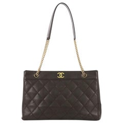 Chanel Vintage Chain Tote Quilted Caviar East West