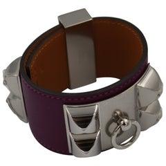 """Hermes Bracelet Collier de Chien """"Medor"""" in Purple Leather"""