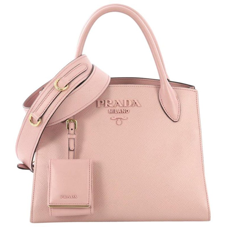 8721a0d48d Prada Monochrome Tote Saffiano Leather with City Calfskin Small