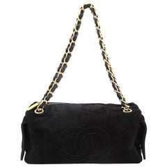 Chanel Vintage Side Pocket Chain Shoulder Bag Suede Medium