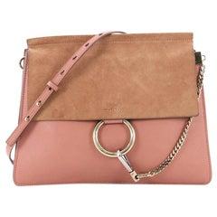 93ef8e1969a1 Chloe Faye Shoulder Bag Leather and Suede Medium