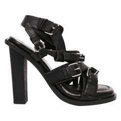 new 2003 Nicolas Ghesquière for Balenciaga black leather runway sandals - 38
