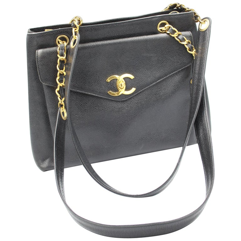 9600f235d28d7b Vintage Chanel Caviar Shopper Bag with Mademoiselle Timeless Clasp For Sale