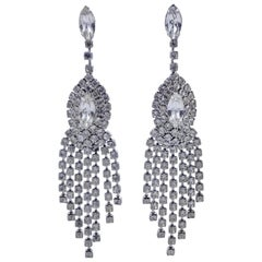 Silver Plated and Clear Rhinestone Chandelier Statement Earrings, circa 1970s