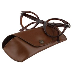 Persol Meflecto Rare Brown Eyeglasses 1940s Cicogna Ratti Torini Logo 125 Wide