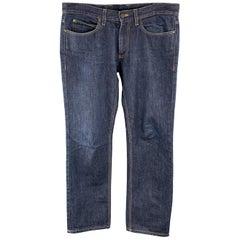 LANVIN Size 31 x 29 Indigo Contrast Stitch Denim Zip Fly Jeans