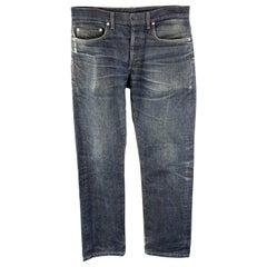 DIOR HOMME Size 32 x 31 Indigo Wash Denim Button Fly Jeans