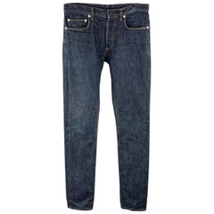 DIOR HOMME Size 31 x 29 Indigo Wash Denim Button Fly Jeans