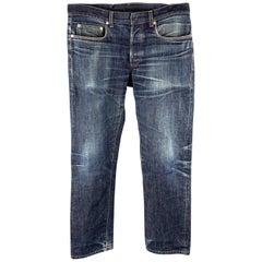 DIOR HOMME Size 31 x 30 Indigo Wash Denim Button Fly Jeans