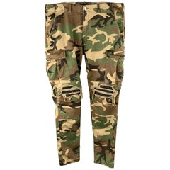 AMIRI Size 34 x 34 Olive Camouflage Cotton Blend Cargo Casual Pants