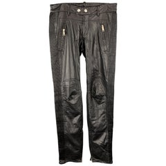 DSQUARED2 Size 30 x 31 Black Pleather Biker Casual Pants