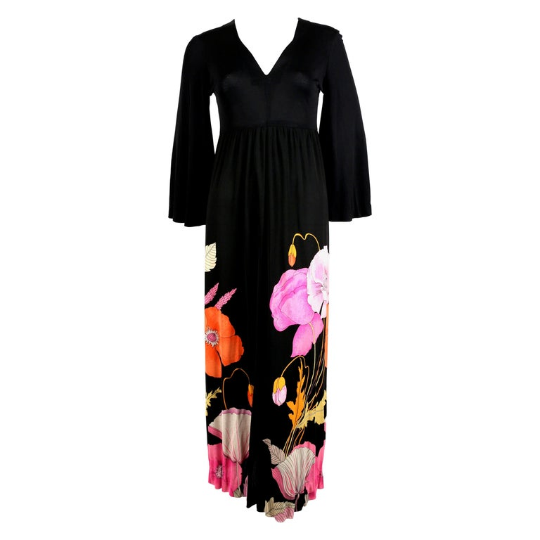 1970's LEONARD Paris floral printed silk jersey dress For Sale