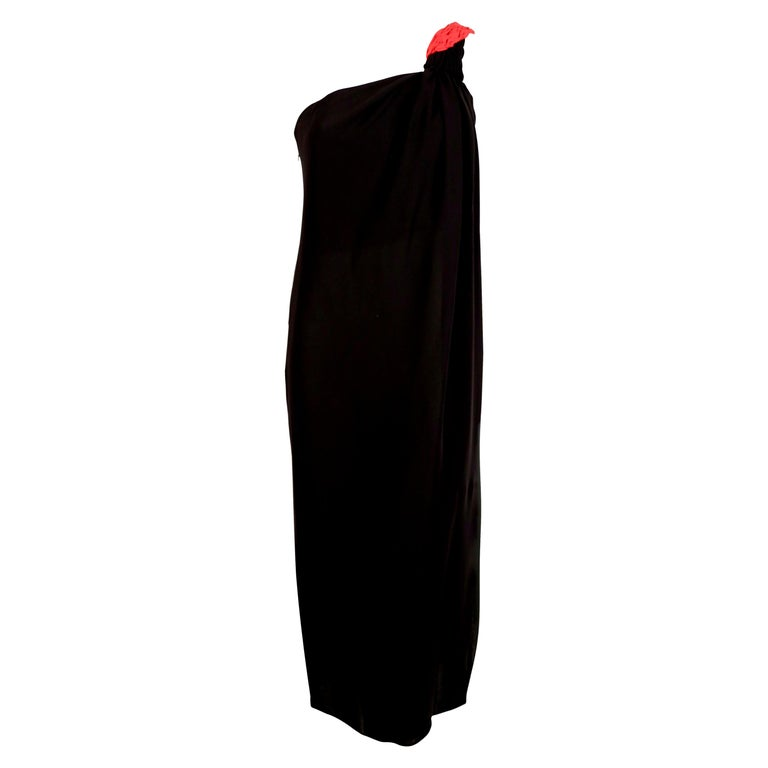 1990's VALENTINO Grecian silk dress with red pleated single shoulder For Sale