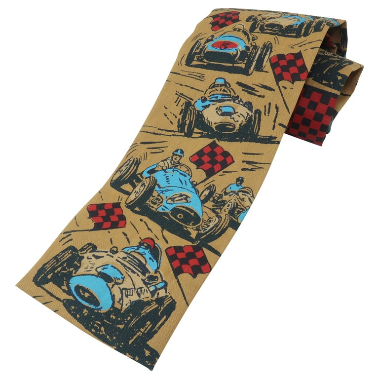 Auto Racing Novelty Square Necktie by Rooster, 1960's For Sale
