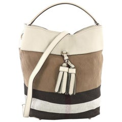 Burberry Susanna Tassel Hobo House Check Canvas Medium