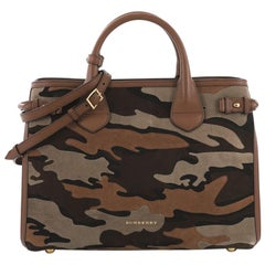 Burberry Banner Convertible Tote Camouflage Suede Medium