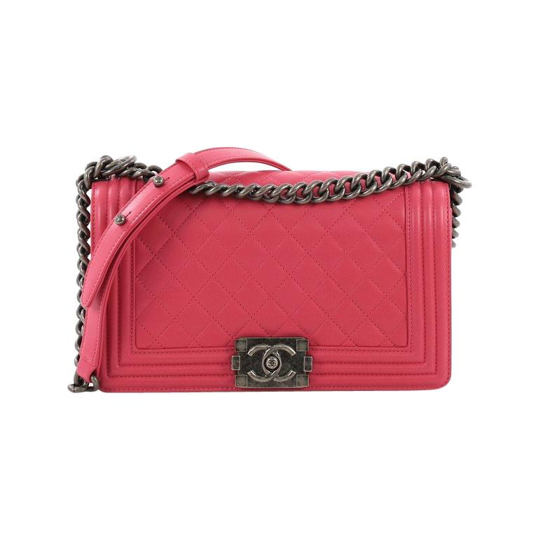 fe662541b4ed Chanel Boy Flap Bag Quilted Calfskin Old Medium For Sale at 1stdibs