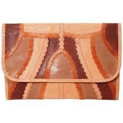 1970's CARLOS FALCHI peach patchwork reptile skin leather clutch