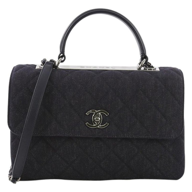 818f165423fc06 Chanel Trendy CC Top Handle Bag Quilted Denim Medium For Sale at 1stdibs