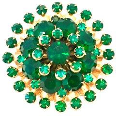 20th Century Gold Plate & Emerald Austrian Crystal Dimensional Brooch