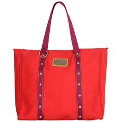 Louis Vuitton Red Canvas Antigua Cabas GM Tote Bag