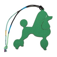 Hermes Bag Charm Royal Poodle Dog Petite h Bi-Color Green Orange newnew