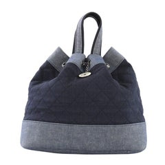 Chanel Medallion Charm Backpack Quilted Denim