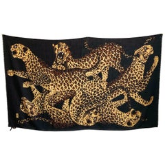 Yves Saint Laurent Massive Shawl Scarf Leopards Silk Wool Blend Rare 84in YSL