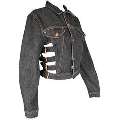 Jean Paul Gaultier Women's Vintage Dark Grey Buckle Detail Denim Jacket, 1980s