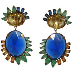 Iradj Moini Lemon Quartz and Vintage Sapphire Clip Earrings
