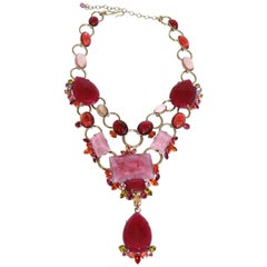 Philippe Ferrandis Pink and Fuchsia Statement Necklace